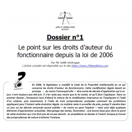 DOSSIER N°1 - Le point sur les droits d'auteur du fonctionnaire depuis la loi de 2006