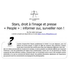 Stars, droit à l'image et presse « People » : informer oui, surveiller non !