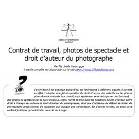 Contrat de travail, photos de spectacle et droit d'auteur du photographe