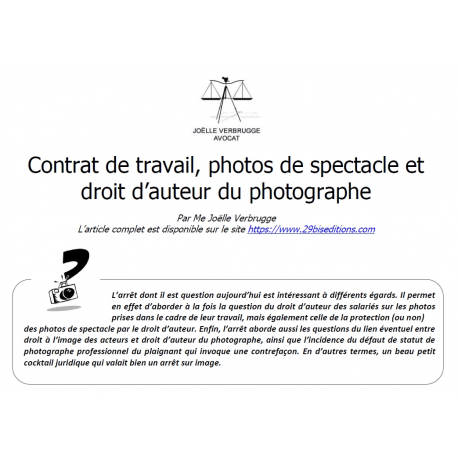 Contrat de travail et photographies de spectacle