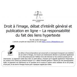 Droit à l'image, débat d'intérêt général et publication en ligne - La responsabilité du fait des liens hypertextes.