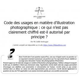 Code des usages en matière d'illustration photographique : ce qui n'est pas clairement chiffré est-il autorisé par principe ?
