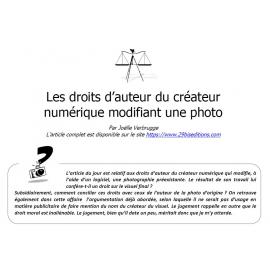 Les droits du créateur numérique modifiant une photo