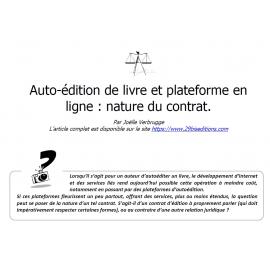 Auto-édition de livre et plateforme en ligne : nature du contrat.