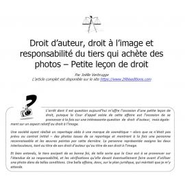 Droit d'auteur, droit à l'image et responsabilité du tiers qui achète des photos – Petite leçon de droit