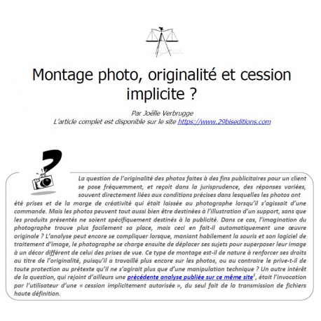 Montage photo, originalité et cession implicite ?