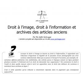 Droit à l'image, droit à l'information et archives des articles anciens