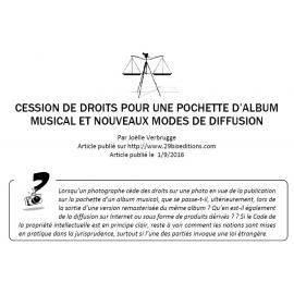 CESSION DE DROITS POUR UNE POCHETTE D'ALBUM MUSICAL ET NOUVEAUX MODES DE DIFFUSION