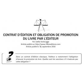 CONTRAT D'ÉDITION ET OBLIGATION DE PROMOTION DU LIVRE PAR L'ÉDITEUR