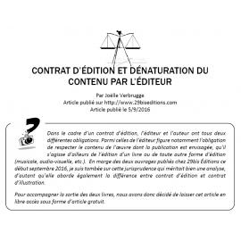 CONTRAT D'ÉDITION ET DÉNATURATION DU CONTENU PAR L'ÉDITEUR