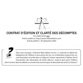Contrat d'édition et clarté des décomptes