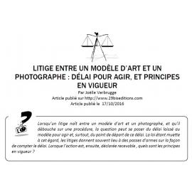 Litige entre un photographe et un modèle d'art : délai pour agir et principes en vigueur