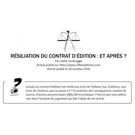 Résiliation du contrat d'édition : et après ?