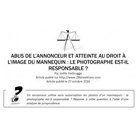 Abus de l'annonceur dans l'utilisation de l'image du mannequin : le photographe est-il responsable ?