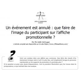 Evénement annulé : que faire de l'image du participant sur l'affiche de l'événement ?