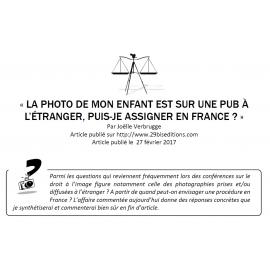 La photo de mon enfant est sur une pub à l'étranger : puis-je assigner en France ?