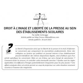 DROIT À L'IMAGE ET LIBERTÉ DE LA PRESSE AU SEIN DES ÉTABLISSEMENTS SCOLAIRES