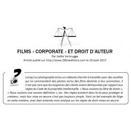 FILMS «CORPORATE» ET DROIT D'AUTEUR