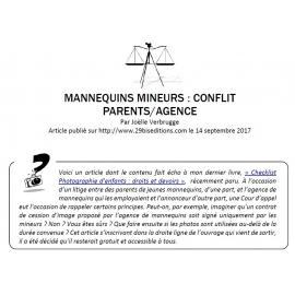 MANNEQUINS MINEURS : CONFLIT PARENTS/AGENCE