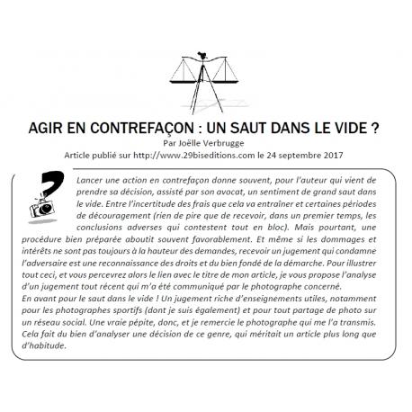 © Joëlle Verbrugge - AGIR EN CONTREFAÇON : UN SAUT DANS LE VIDE ? Analyse longue et détaillée d'un très intéressant et utile jugement en matière de contrefaçon de photographie.