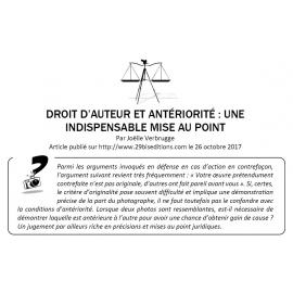 DROIT D'AUTEUR ET ANTÉRIORITÉ : UNE INDISPENSABLE MISE AU POINT