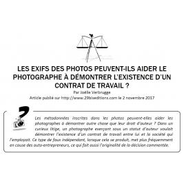 LES EXIFS DES PHOTOS PEUVENT-ILS AIDER LE PHOTOGRAPHE À DÉMONTRER L'EXISTENCE D'UN CONTRAT DE TRAVAIL ?