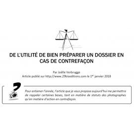DE L'UTILITÉ DE BIEN PRÉPARER UN DOSSIER EN CAS DE CONTREFAÇON