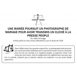 UNE MARIÉE POURSUIT UN PHOTOGRAPHE DE MARIAGE POUR AVOIR TRANSMIS UN CLICHÉ À LA PRESSE PEOPLE