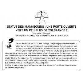 STATUT DES MANNEQUINS : UNE PORTE OUVERTE VERS UN PEU PLUS DE TOLÉRANCE ?