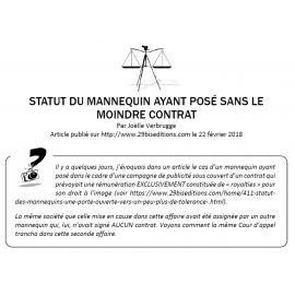 STATUT DU MANNEQUIN AYANT POSÉ SANS LE MOINDRE CONTRAT