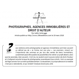 PHOTOGRAPHES, AGENCES IMMOBILIÈRES ET DROIT D'AUTEUR