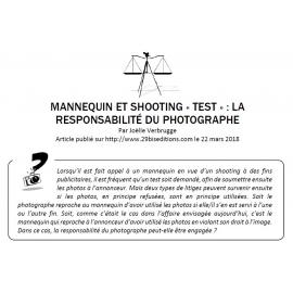 MANNEQUIN ET SHOOTING «TEST» : LA RESPONSABILITÉ DU PHOTOGRAPHE