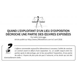 QUAND L'EXPLOITANT D'UN LIEU D'EXPOSITION DÉCROCHE UNE PARTIE DES ŒUVRES EXPOSÉES