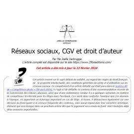 Réseaux sociaux, CGV et droit d'auteur