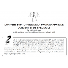 L'UNIVERS IMPITOYABLE DE LA PHOTOGRAPHIE DE CONCERT ET DE SPECTACLE