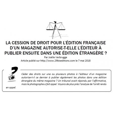 CESSION DE DROITS ET ÉDITION ÉTRANGÈRE D'UN MAGAZINE