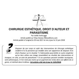 CHIRURGIE ESTHÉTIQUE, DROIT D'AUTEUR ET PARASITISME