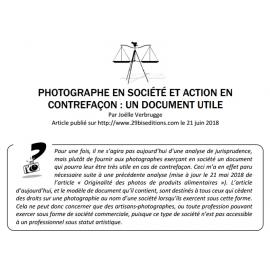 PHOTOGRAPHE EN SOCIÉTÉ ET ACTION EN CONTREFAÇON : UN DOCUMENT UTILE