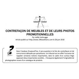 CONTREFAÇON DE MEUBLES ET DE LEURS PHOTOS PROMOTIONNELLES