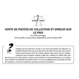 VENTE DE PHOTOS DE COLLECTION ET ERREUR SUR LE PRIX