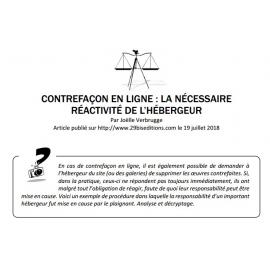 CONTREFAÇON EN LIGNE : LA NÉCESSAIRE RÉACTIVITÉ DE L'HÉBERGEUR