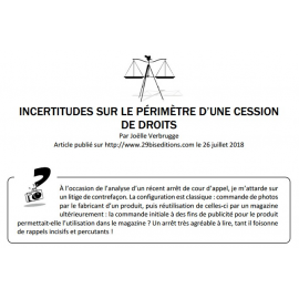 INCERTITUDES SUR LE PÉRIMÈTRE D'UNE CESSION DE DROITS
