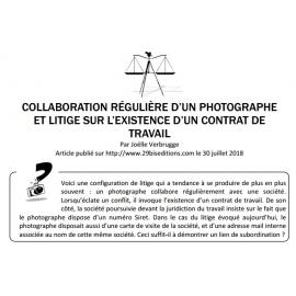 COLLABORATION RÉGULIÈRE D'UN PHOTOGRAPHE ET LITIGE SUR L'EXISTENCE D'UN CONTRAT DE TRAVAIL