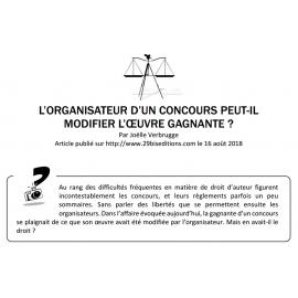L'ORGANISATEUR D'UN CONCOURS PEUT-IL MODIFIER L'ŒUVRE GAGNANTE ?