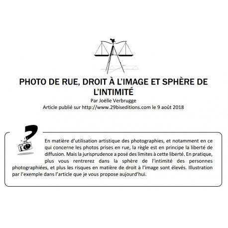 PHOTO DE RUE, DROIT À L'IMAGE ET SPHÈRE DE L'INTIMITÉ