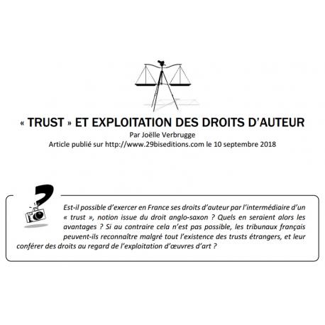 «TRUST» ET EXPLOITATION DES DROITS D'AUTEUR