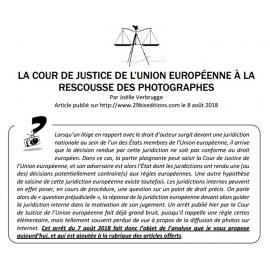 LA COUR DE JUSTICE DE L'UNION EUROPÉENNE À LA RESCOUSSE DES PHOTOGRAPHES