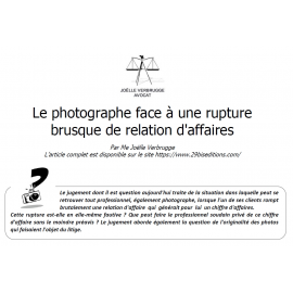 Le photographe face à une rupture brusque de relation d'affaires