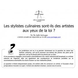 Les stylistes culinaires sont-ils des artistes aux yeux de la loi ?