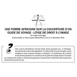 UNE FEMME AFRICAINE SUR LA COUVERTURE D'UN GUIDE DE VOYAGE - LITIGE DE DROIT À L'IMAGE